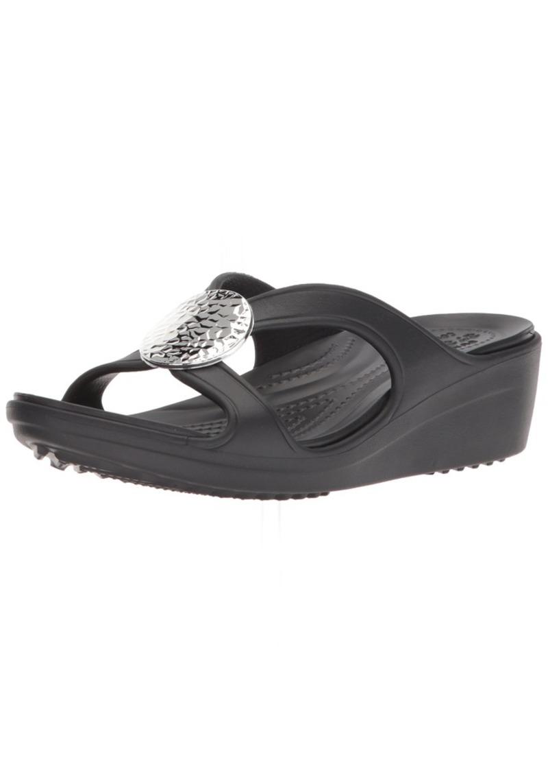 Crocs Women's Sanrah Hammered Circle Wedge Sandal Black  M US