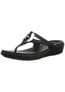 Crocs Women's Sanrah Hammered Met Flip Wedge Sandal