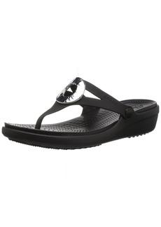 crocs Women's Sanrah Hammered Met Wedge Flip Sandal black/black W M US