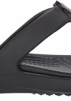 Crocs Women's Sanrah MetalBlock Sandal Slide gunmetal/black  M US