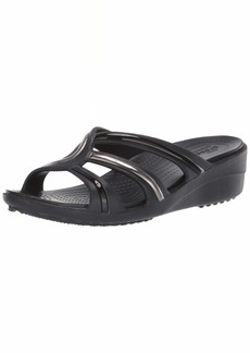 Crocs Women's Sanrah MetalBlock Strap Wedge Sandal Multi Black  M US