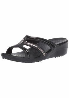 Crocs Women's Sanrah MetalBlock Strap Wedge Sandal multi black/black  M US