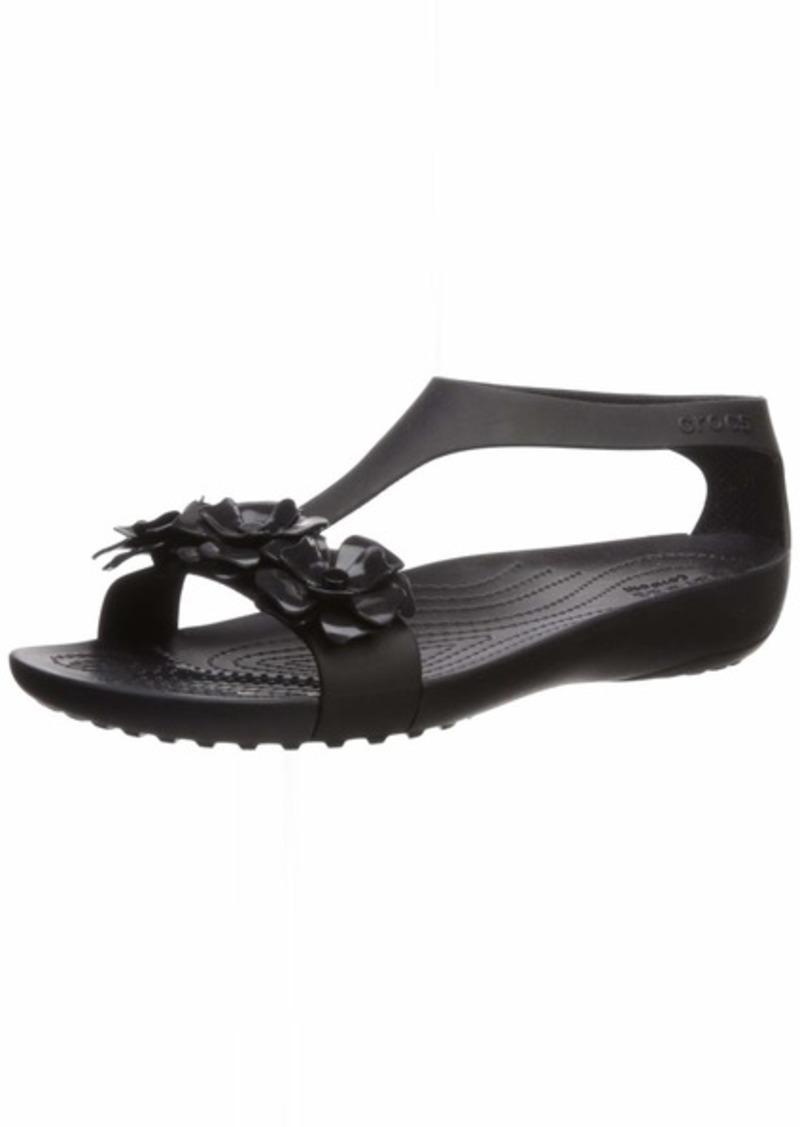 Crocs Women's Serena Embellish Sandal Flat black/black  M US