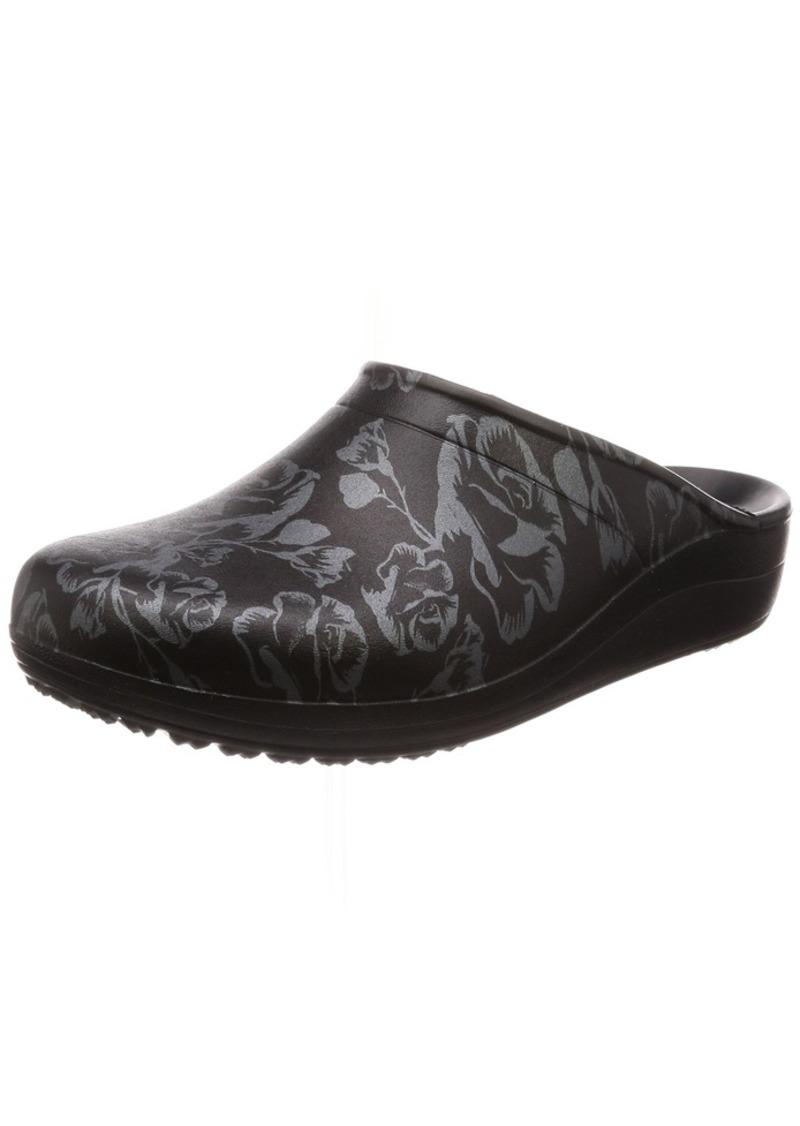 crocs Women's Sloane Graphic Clog W Shoe metallic rose/black W M US
