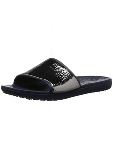Crocs Women's Sloane Hammered Metallic Slide Sandal navy/navy  M US