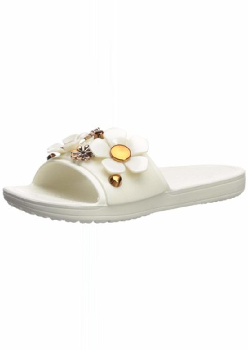 Crocs Women's Sloane Metal Blooms Slide Sandal multi/oyster  M US