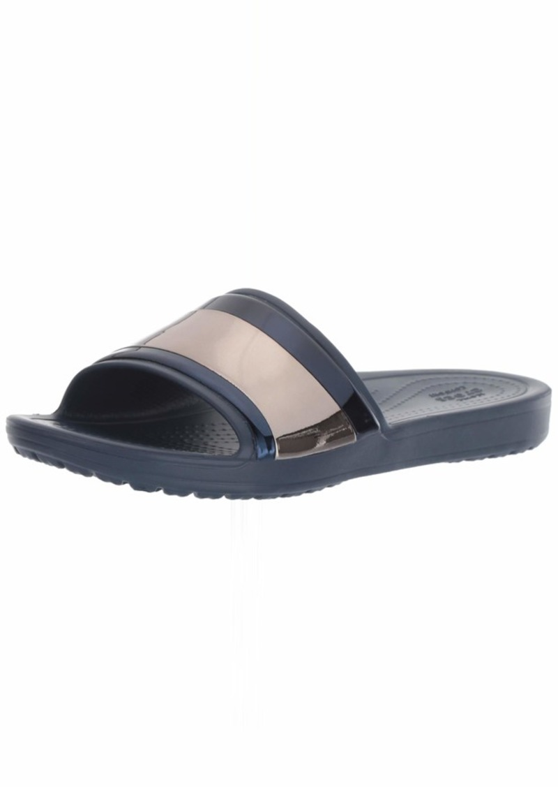 Crocs Women's Sloane MetalBlock Slide Sandal Multi Navy  M US