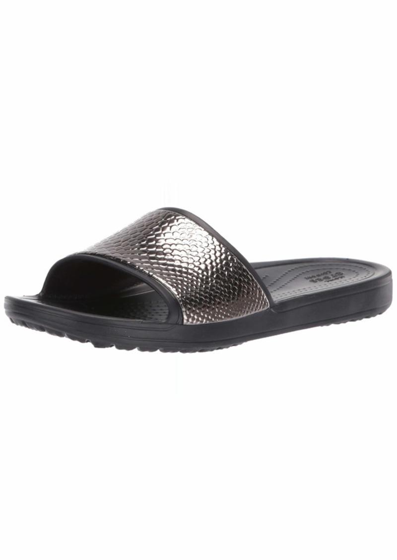 Crocs Women's Sloane MetalText Slide Sandal gunmetal/black  M US