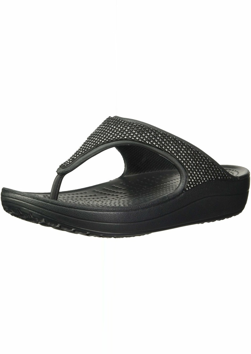 Crocs Women's Sloane Ombre Diamante Flip Flat Sandal Black  M US