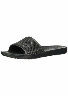 Crocs Women's Sloane Ombre Diamante Slide Sandal Black  M US
