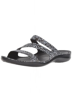 Crocs Women's Swiftwater Graphic Flat Sandal Sport dots  M US