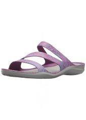 crocs Women's Swiftwater Graphic Sandal W Sport amethyst diamond/light grey  M US