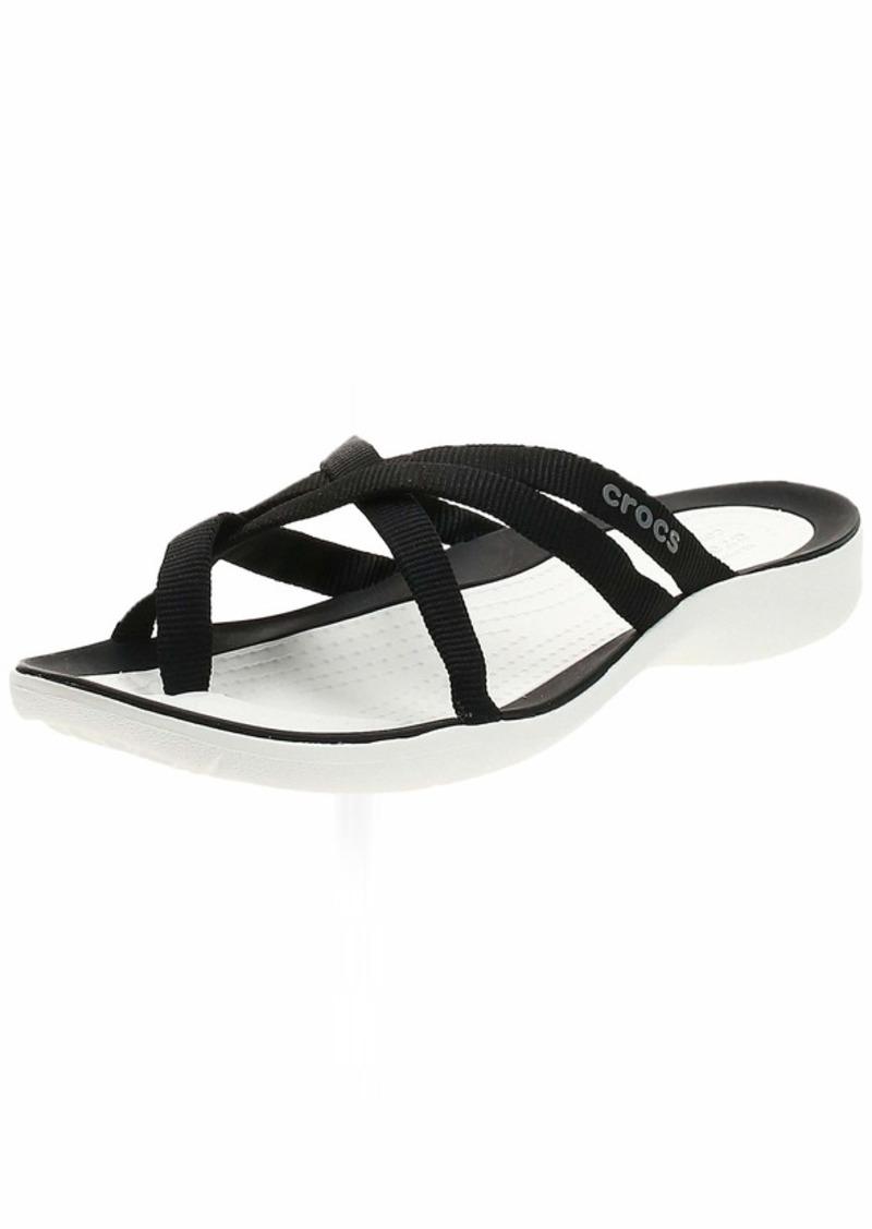 Crocs Women's Swiftwater Webbing Flip Slide Sandal black/white  M US
