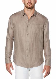 Cubavera Men's 100% Linen Textured Long Sleeve Shirt
