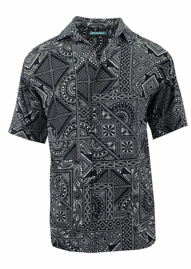 Cubavera Men's Bandana Print Short Sleeve Shirt
