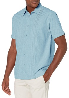 Cubavera Men's Chambray Pintuck Geometric Short Sleeve Button-Down Shirt