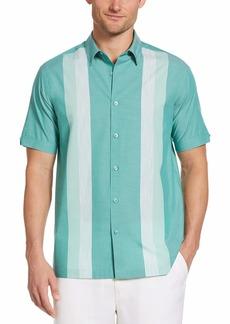 Cubavera Men's Ecoselect Yarn Dye Panel Short Sleeve Button-Down Shirt