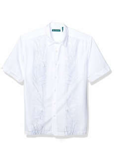 Cubavera Men's Floral Panel Print Embroidery Short Sleeve Button Down Shirt