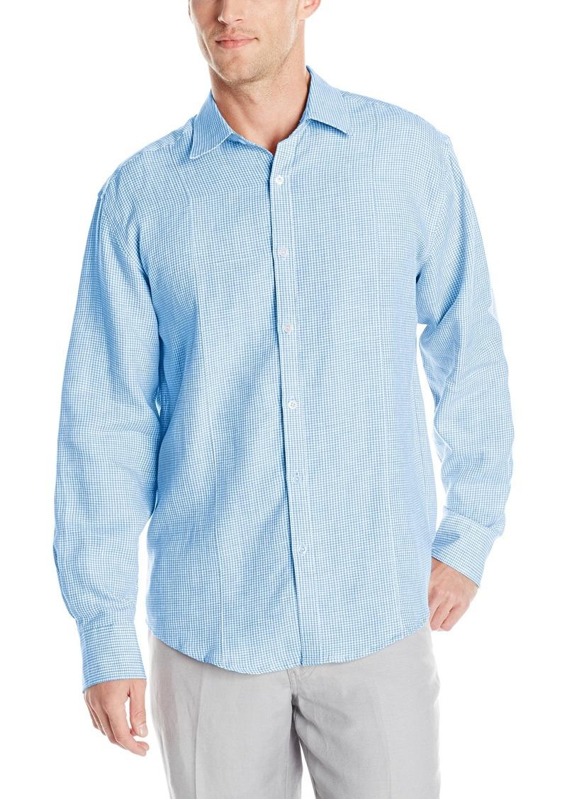 Cubavera Men's Gingham Long Sleeve Woven Shirt