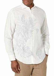 Cubavera Men's Long Sleeve 100% Linen Engineered Print Shirt