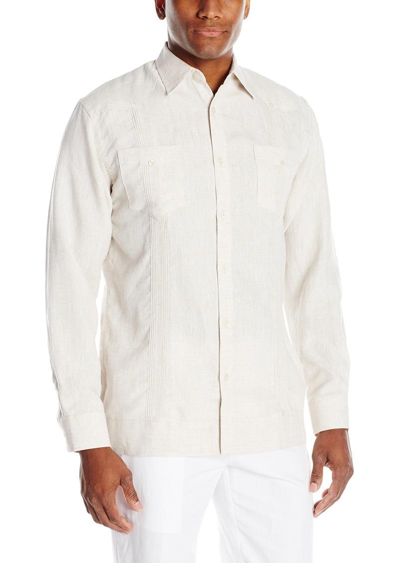 Cubavera Men's Long Sleeve 100% Linen Guayabera Shirt with Two Top Pockets Natural