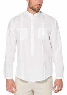 Cubavera Men's Double Chest Pocket with Tucking Long Sleeve Popover Shirt