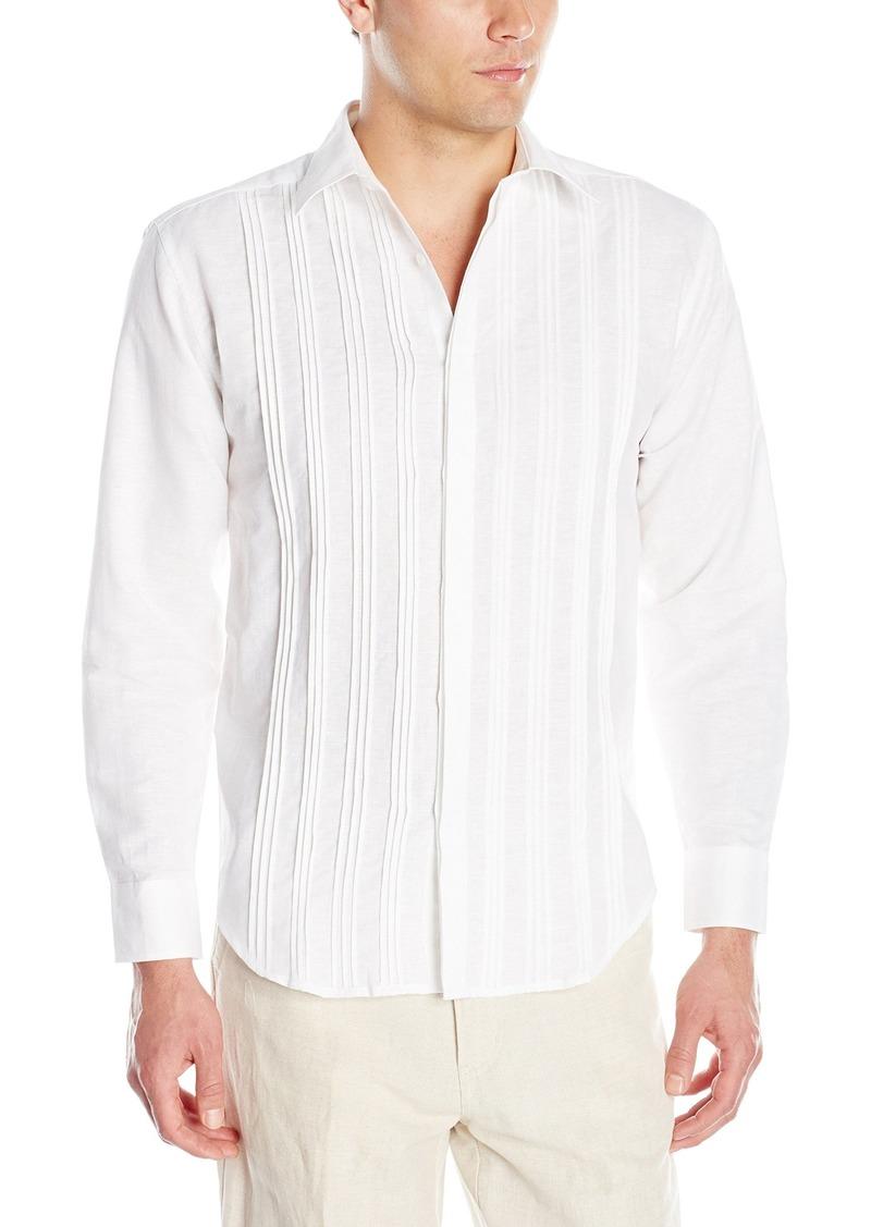 Cubavera Men's Long Sleeve Linen-Blend Pleated-Front Button-Down Shirt