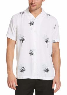 Cubavera Men's Palm Print Short Sleeve Button-Down Shirt
