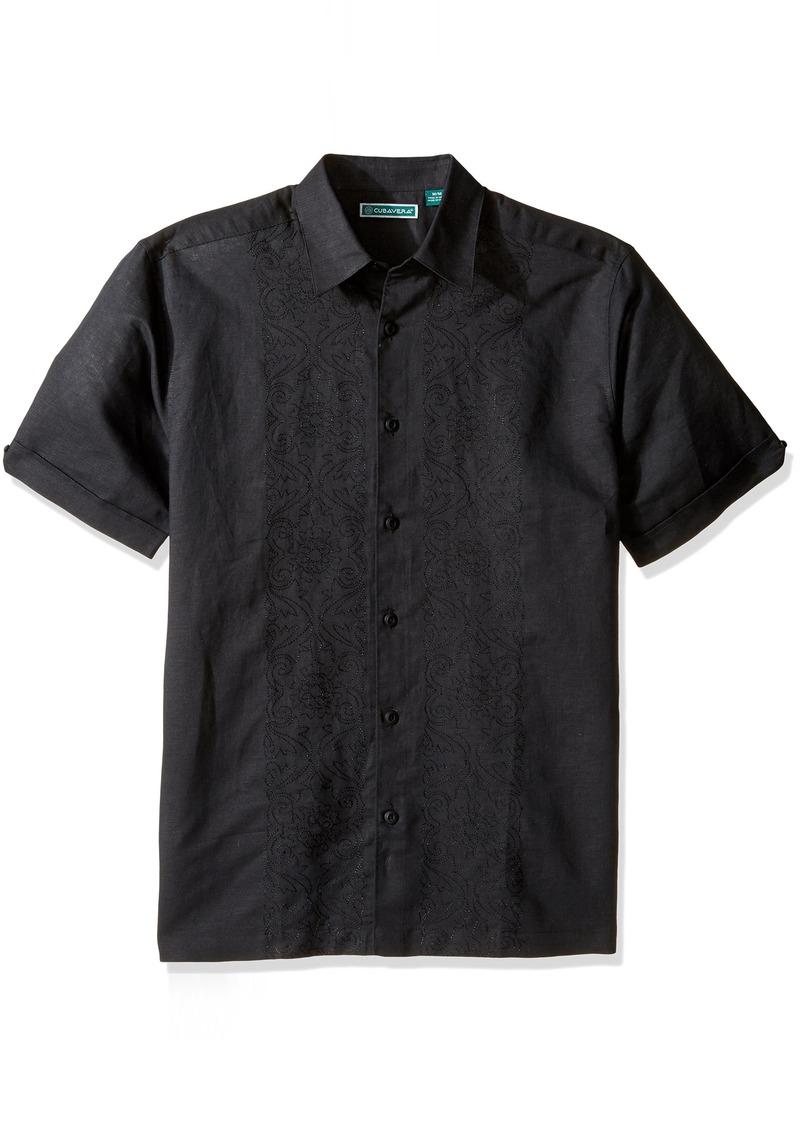 Cubavera Men's Short Sleeve 100% Linen Embroidered Button-Down Shirt