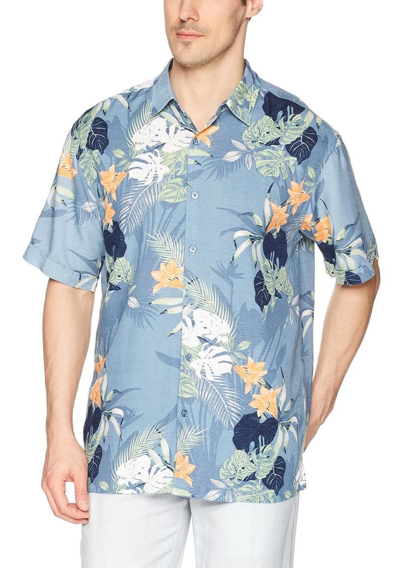 Cubavera Men's Big and Tall Short-Sleeve All Over Tropical Shirt