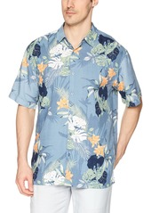 Cubavera Men's Short Sleeve 100% Rayon Point-Collar Tropical Floral Print Shirt  Extra Large