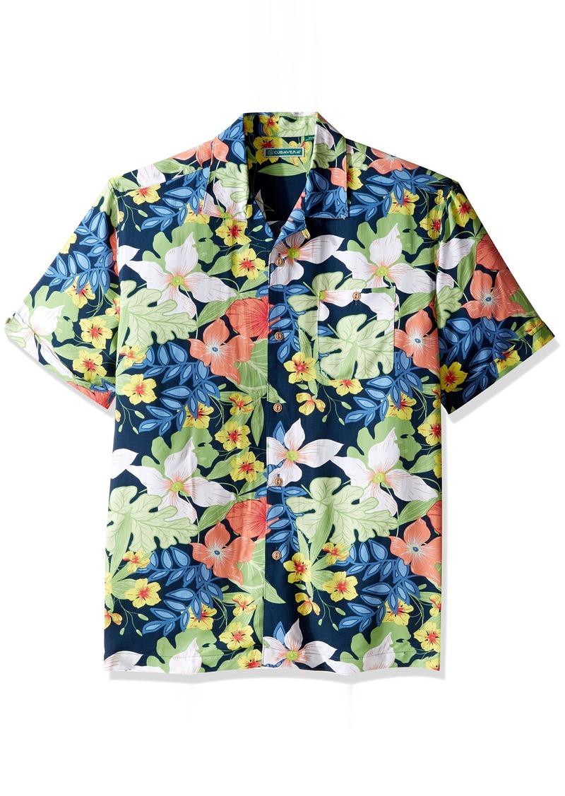 Cubavera Men's Short Sleeve 100% Rayon Tropical Floral Print Cuban Camp Shirt  Extra Large