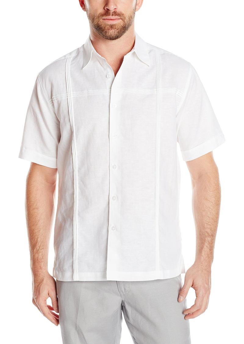 Cubavera Men's Short Sleeve Cross Chest and Panel Tucking Woven Shirt