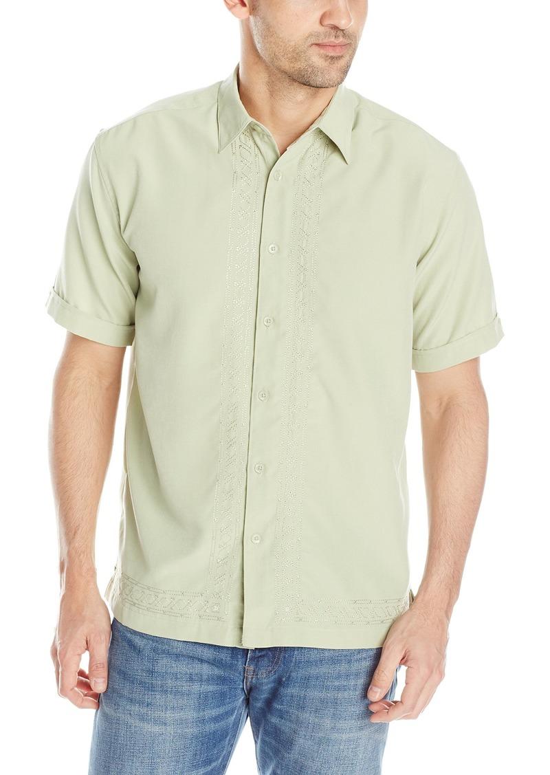 Cubavera Men's Short Sleeve Embroidered L Shape Woven Shirt