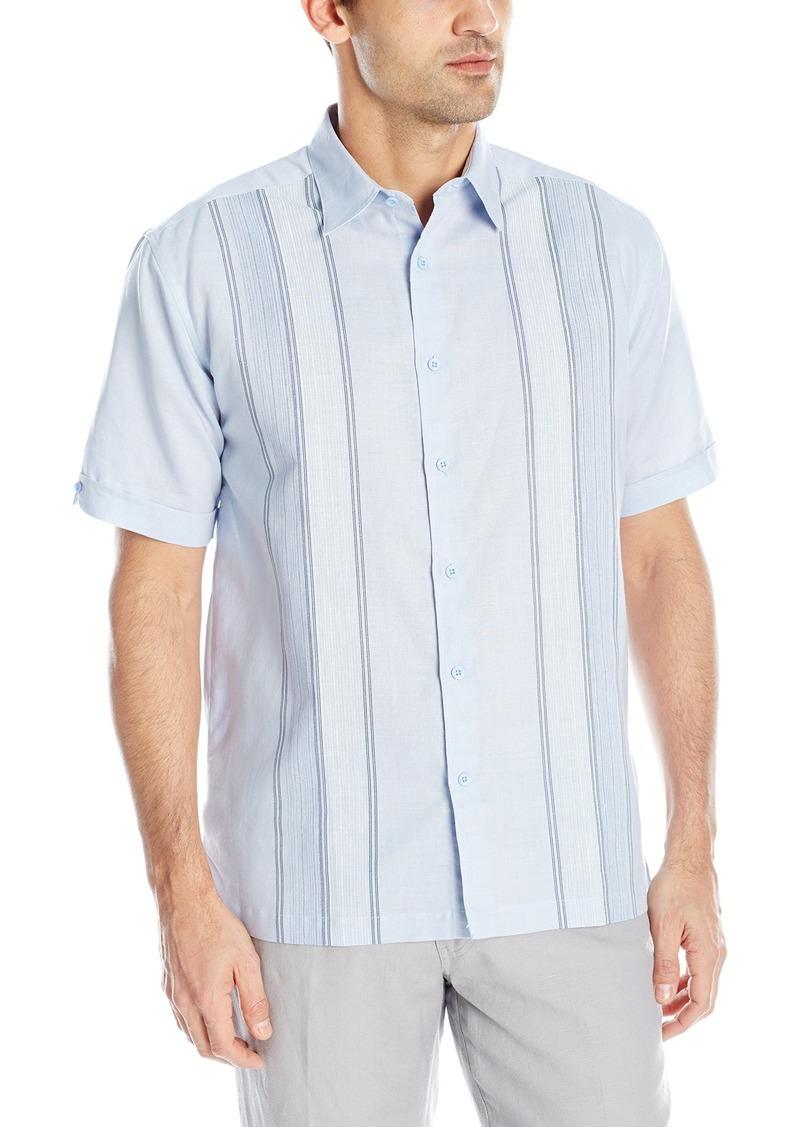 Cubavera Men's Short Sleeve Engineered Panel Woven Shirt