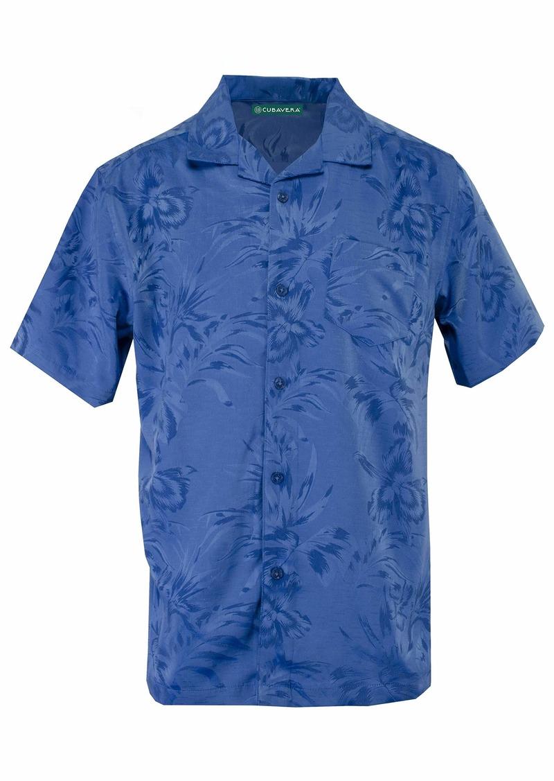 Cubavera Men's Short Sleeve Floral and Leaf Jacquard Shirt