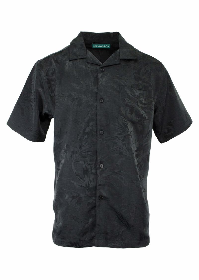 Cubavera Men's Short Sleeve Floral and Leaf Jacquard Shirt  X Large