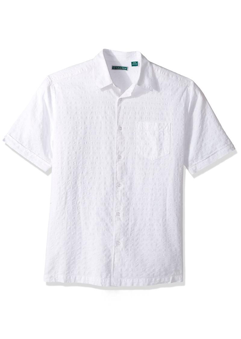 Cubavera Men's Short Sleeve Linen-Blend Seersucker Shirt with Pocket