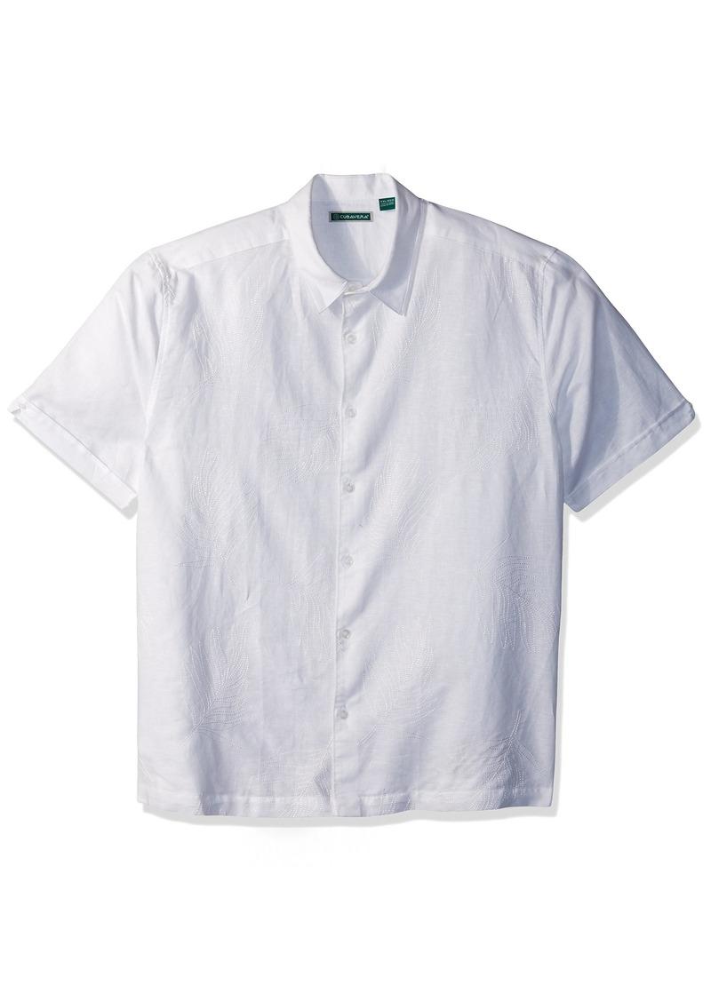 Cubavera Men's Short Sleeve Linen-Blend Shirt with Tropical Leaf Embroidery