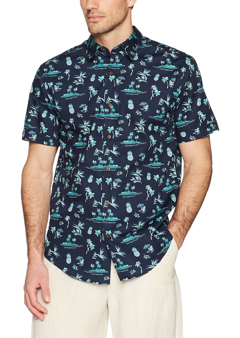 Cubavera Men's Short Sleeve Point-Collar 100% Cotton Tropical Floral Print Shirt