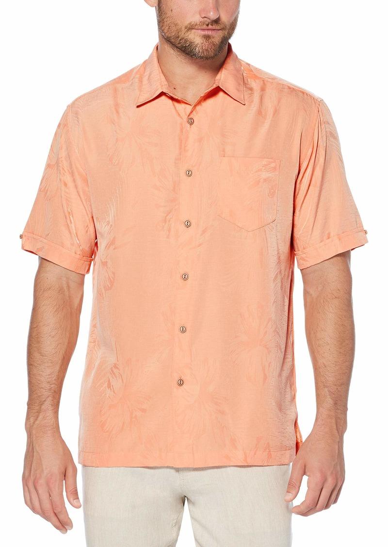 Cubavera Men's Short Sleeve Polyester Tonal Floral Jacquard Shirt with Pocket