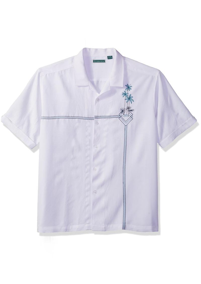 Cubavera Men's Short Sleeve Rayon-Blend L-Shape Embroidered Cuban Camp Shirt