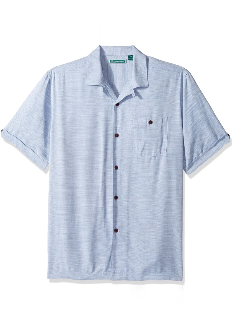 Cubavera Men's Short Sleeve Textured-Rayon Cuban Camp Shirt with Pocket