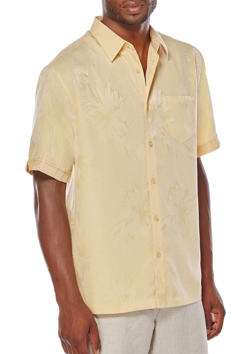 Cubavera Men's Short Sleeve Tonal Floral Jacquard Woven Shirt with Pocket