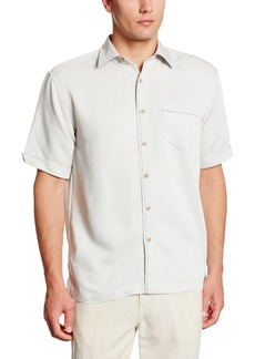Cubavera Men's Short Sleeve Tonal Stitching Button-Down Cuban Camp Shirt