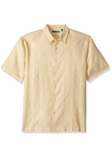 Cubavera Men's Short-Sleeve Yarn-dye Shirt with Embroidery  XXL