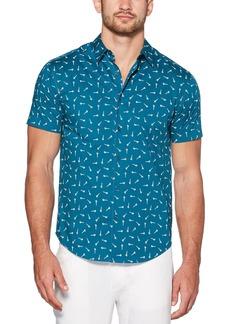 Cubavera Men's Slim Fit Novelty Print Short Sleeve Button-Down Shirt  X Large