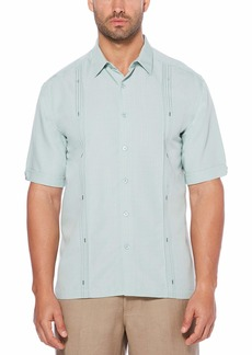 Cubavera Men's Tall Short Sleeve Cuban Camp Shirt with Contrast Insert Panels Gray Mist with Variating Tuck Pattern
