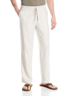 Cubavera Drawstring Pant with Back Elastic Waistband Natural Linen with Textured Details