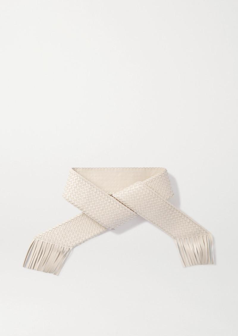 Cult Gaia Banu Fringed Woven Faux Leather Belt